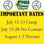 Girls Volleyball Important Dates and Information