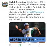 A. McAlpin Named July Star of Month