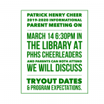 2019-2020 PHHS Cheer Info Meeting