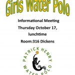 Girls Water Polo Preseason Info Meeting