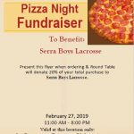 Serra Boys Lacrosse Pizza Night Fundraiser!
