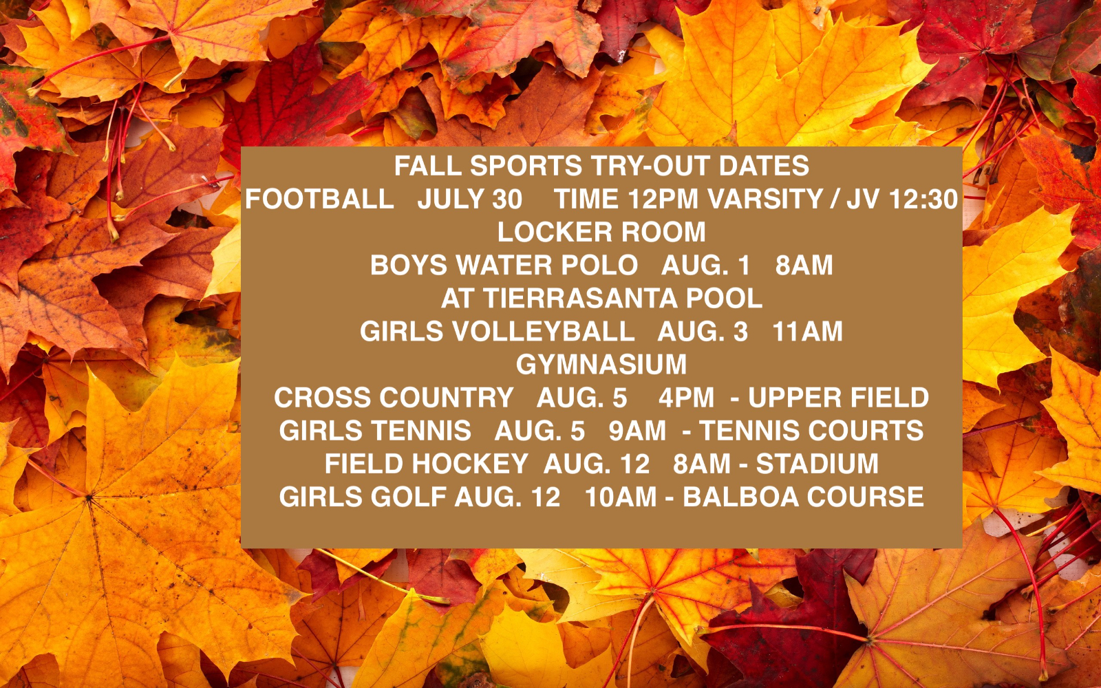 FALL SPORTS TRYOUT DATES