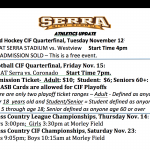 Serra Athletics Update