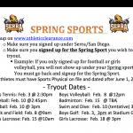 Spring Sport Tryouts Begin……..