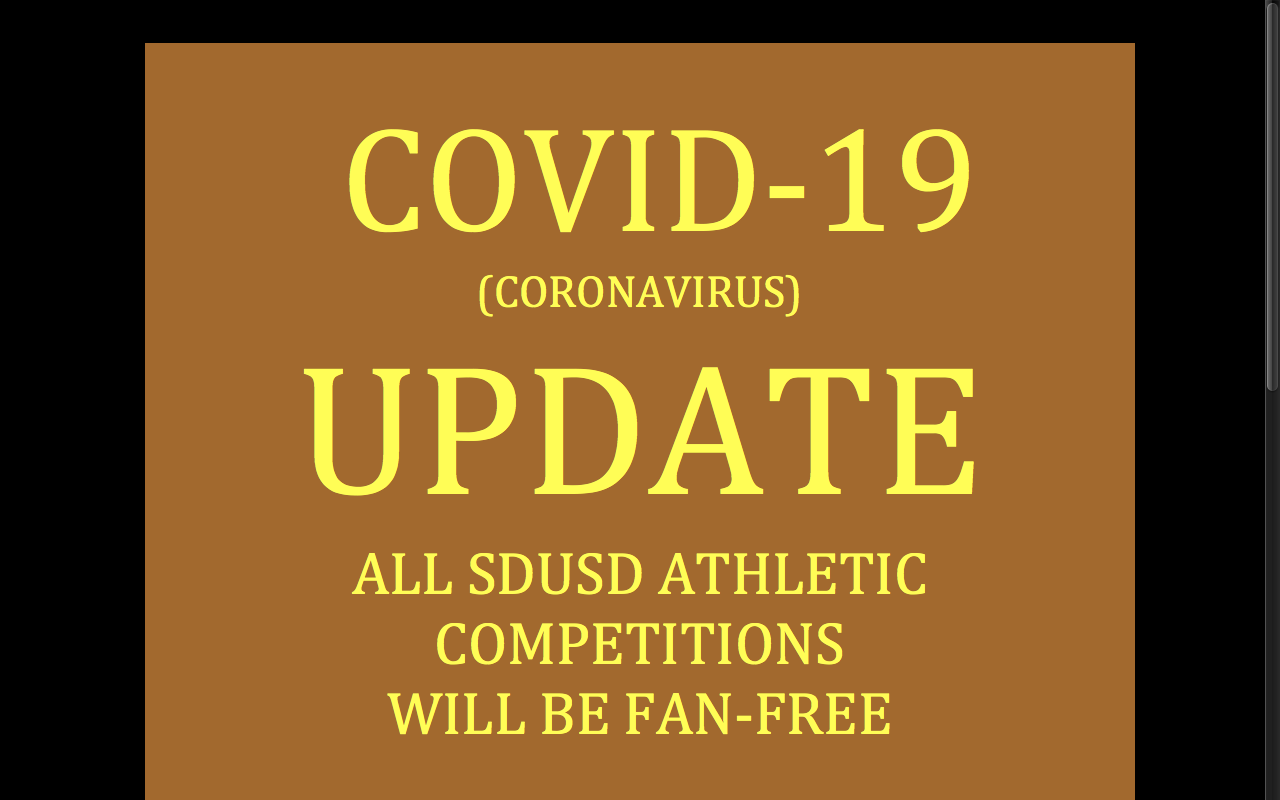 COVID-19 UPDATE FOR ATHLETICS