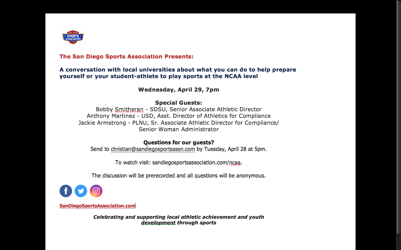 NCAA –  Information for making the next level