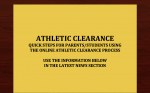 Athletic Clearance for Athletes to Participate