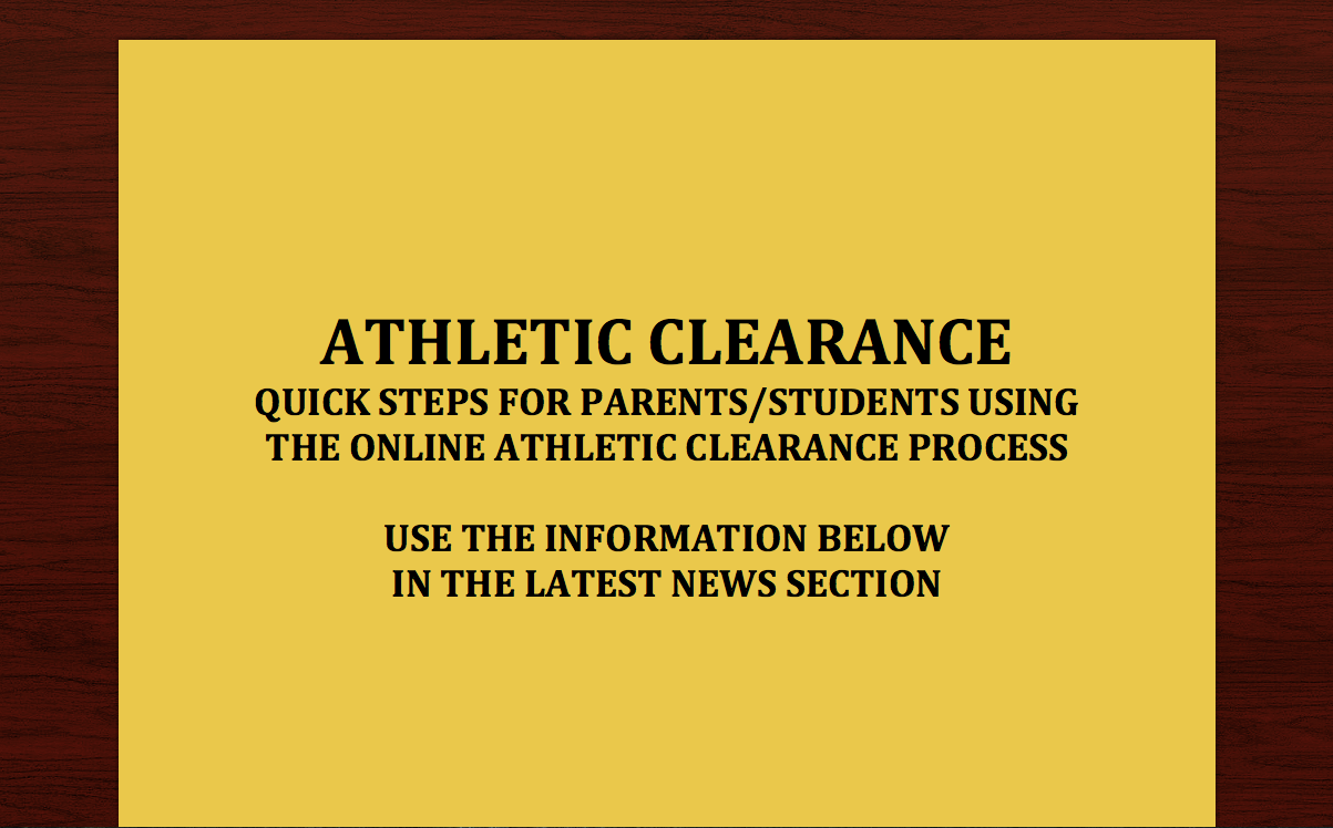 Athletic Clearance Website Instructions