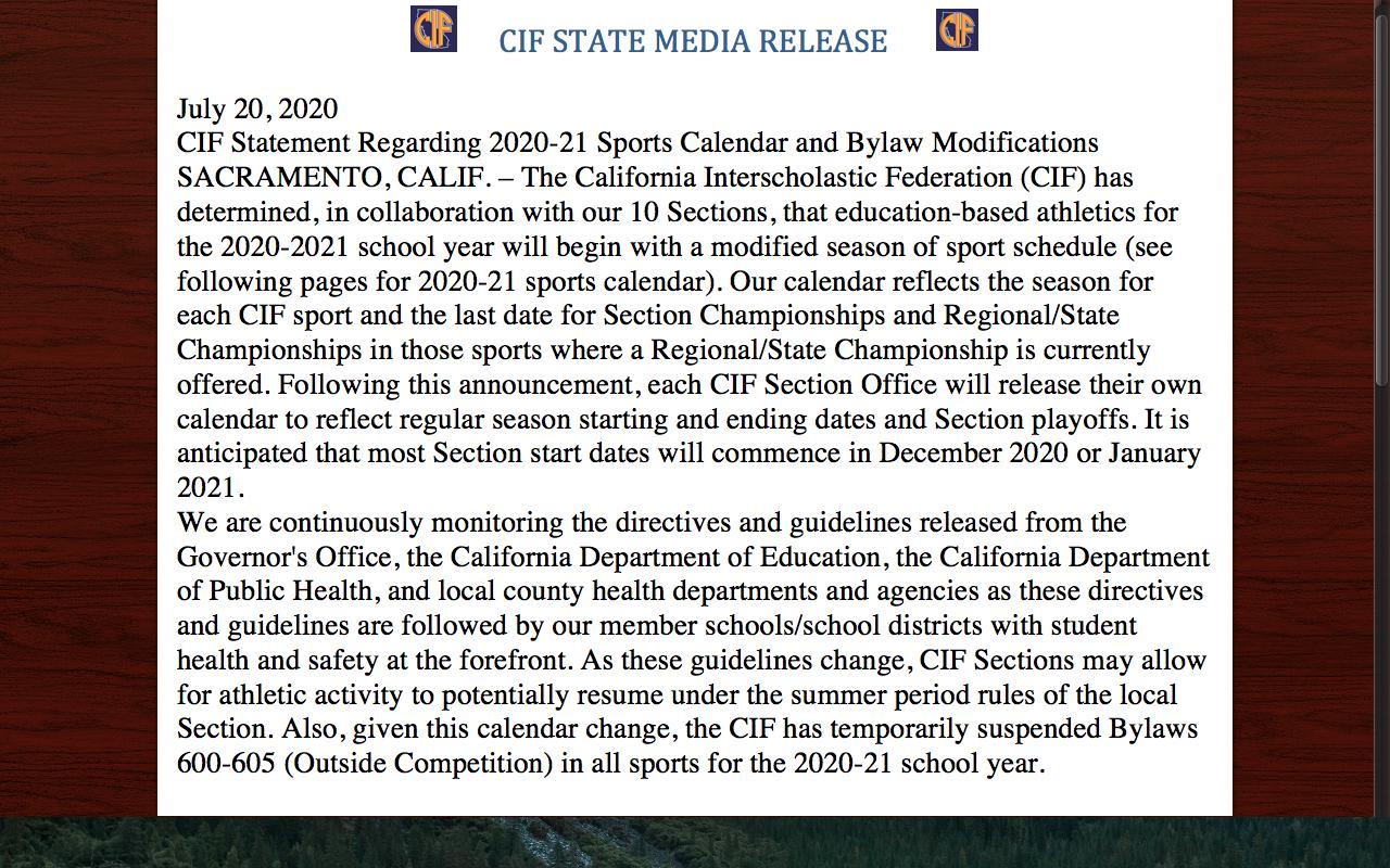 CIF STATE UPDATE JULY 20, 2020