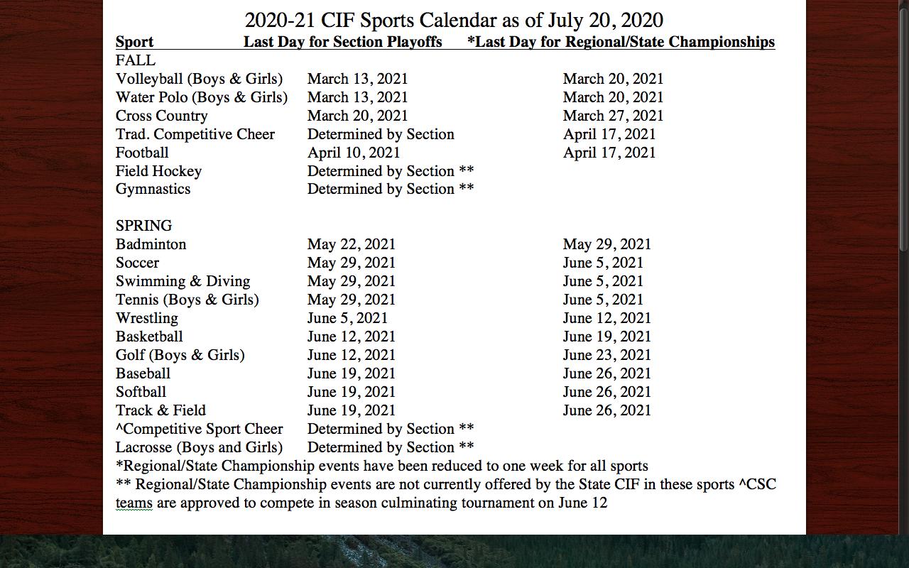 CIF State Playoffs Sports Calendar 2020-21