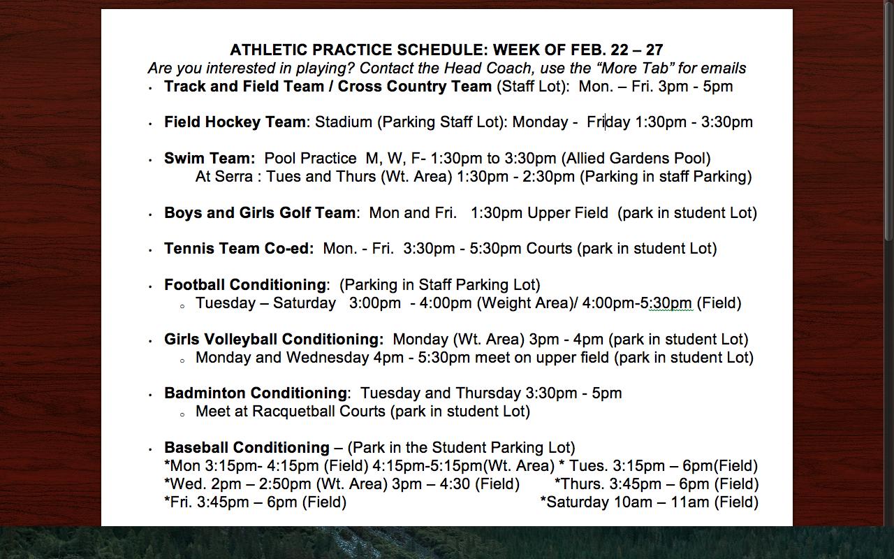 Athletic Practice This Week