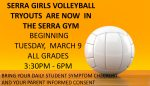 Girls Volleyball Tryouts Begin on Tuesday March 9