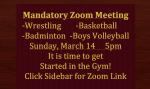 Basketball- Badminton-Boys Volleyball- Wrestling Meeting