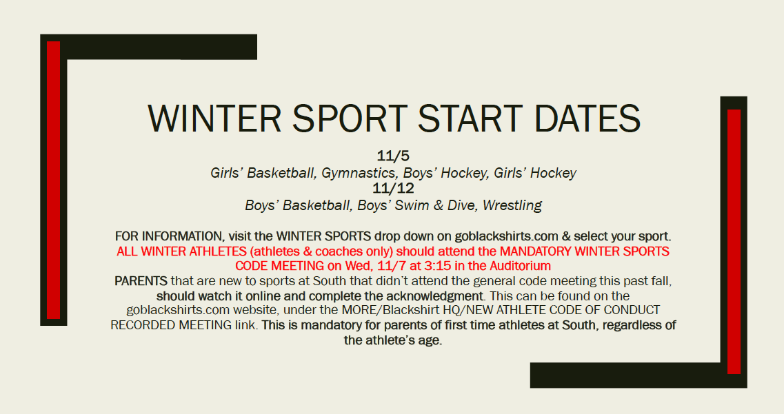 Winter Sports Kicking Off (Links In Article)