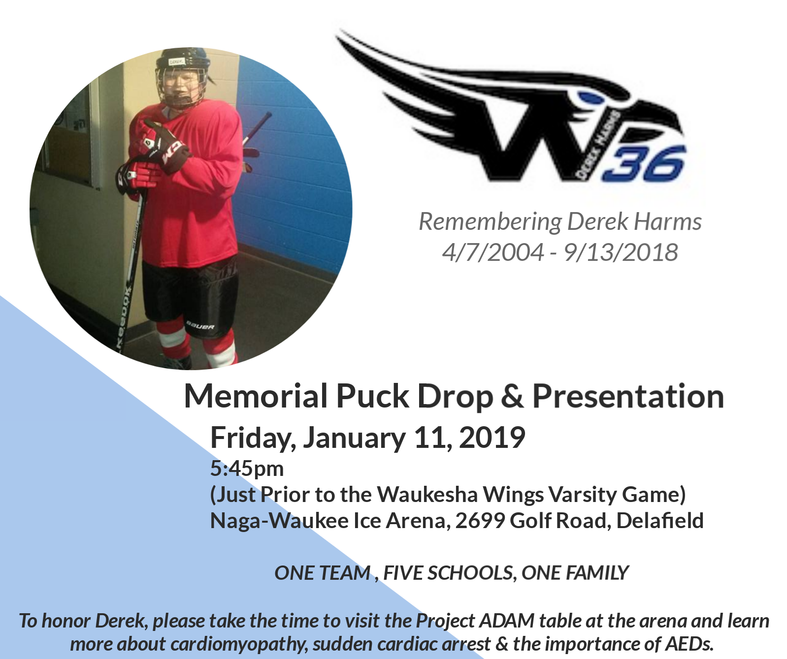 Waukesha Wings to Honor and Remember Pewaukee Freshman Derek Harms