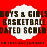 ALL GAMES CANCELED for TUESDAY Basketball – Boys and Girls