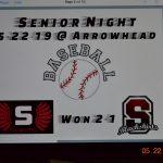 Senior Night 5-22-19 @ Arrowhead Won 2-1