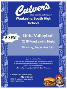Girls Volleyball Culver's Night Thursday 9/19