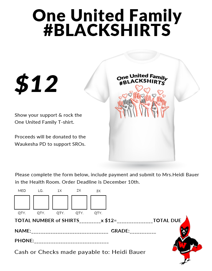 One United Family #BLACKSHIRTS T-shirt Fundraiser – Orders and Money Due 12/10