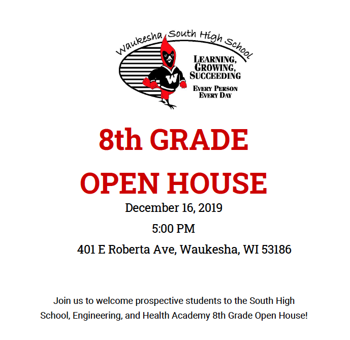 RESCHEDULED: 8th Grade Open House – December 16 at 5pm