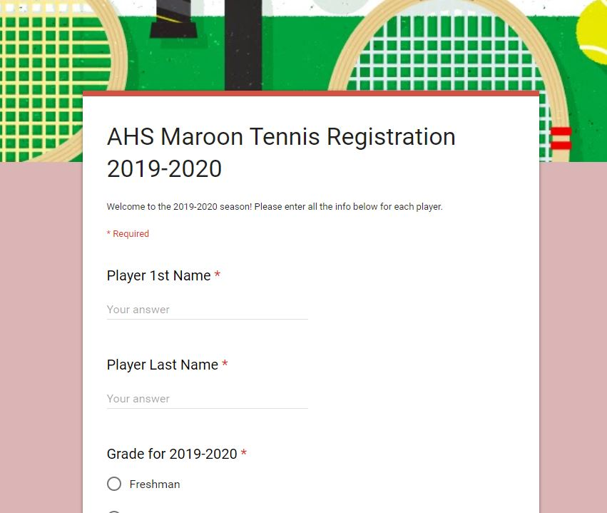 Google Form link for Tennis Registration
