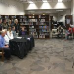 photo MJHS volleyball player Emma Green's signing even in the MJHS media center