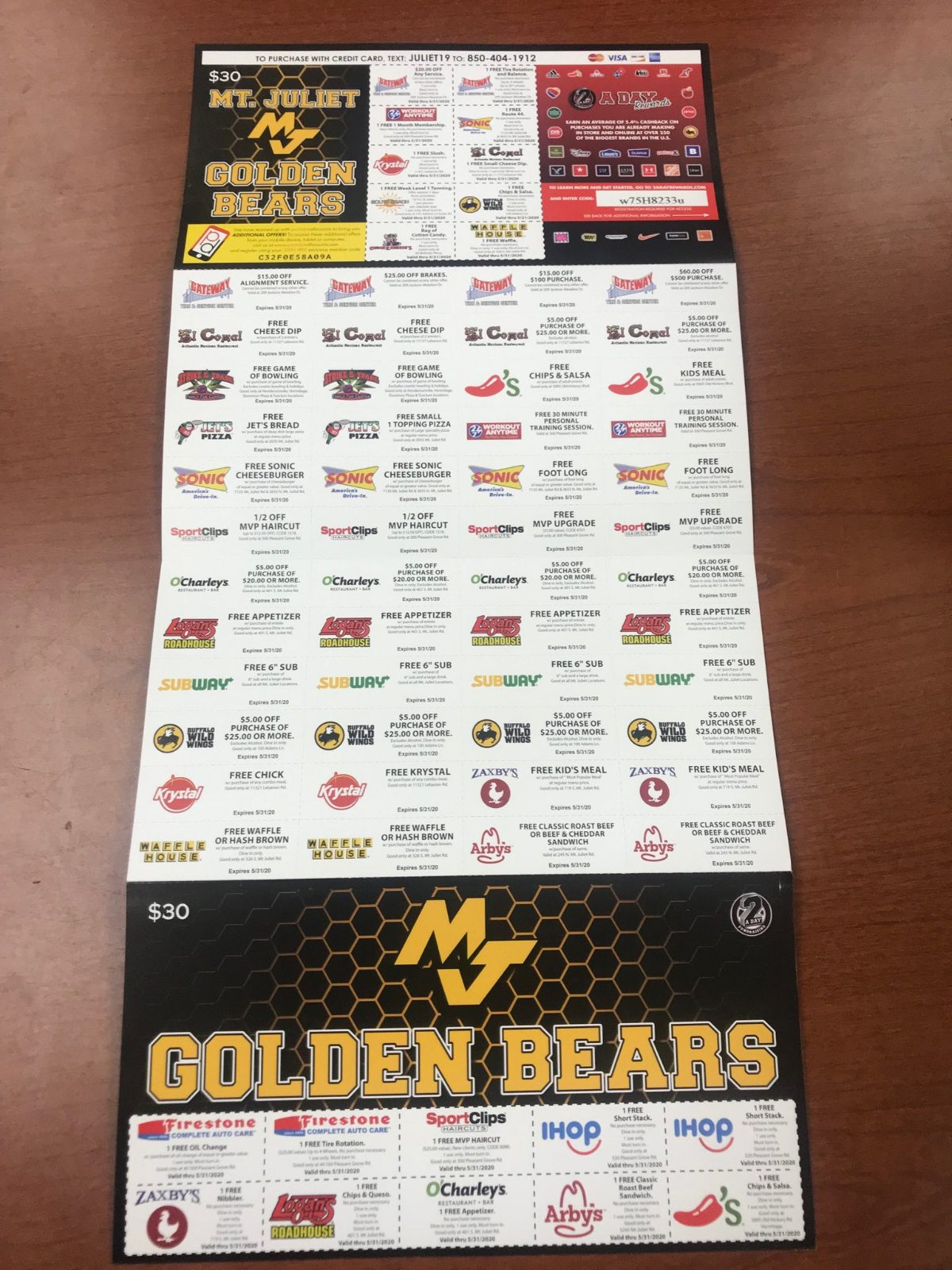 Football coupon card fundraiser happening now