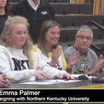 Emma Palmer at the signing table