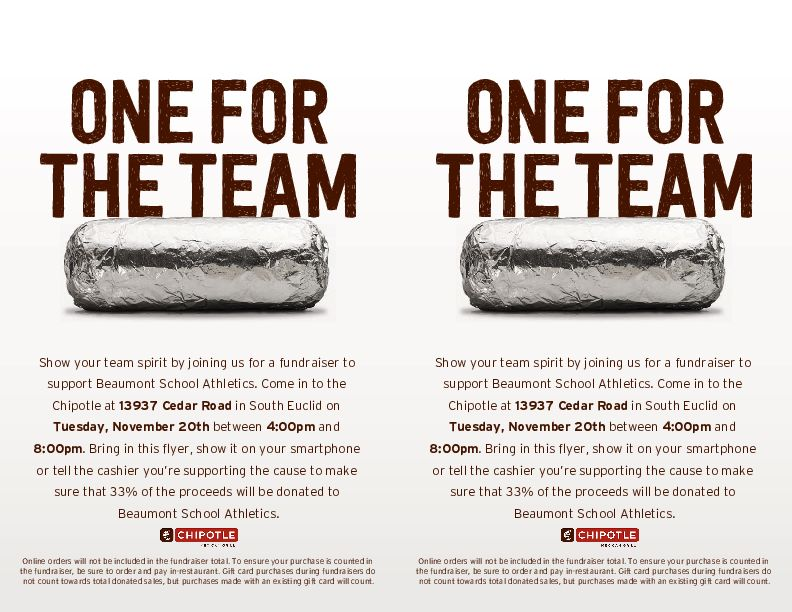 Chipotle Fundraiser on Tuesday, Nov. 20
