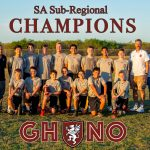 Student athletes posing for a group photo with overlaying text reading sa sub-regional champions GHNO