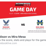 Varsity Football Home Game Tonight vs Madison 6:30pm