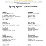 Spring Sports Tryout Schedule