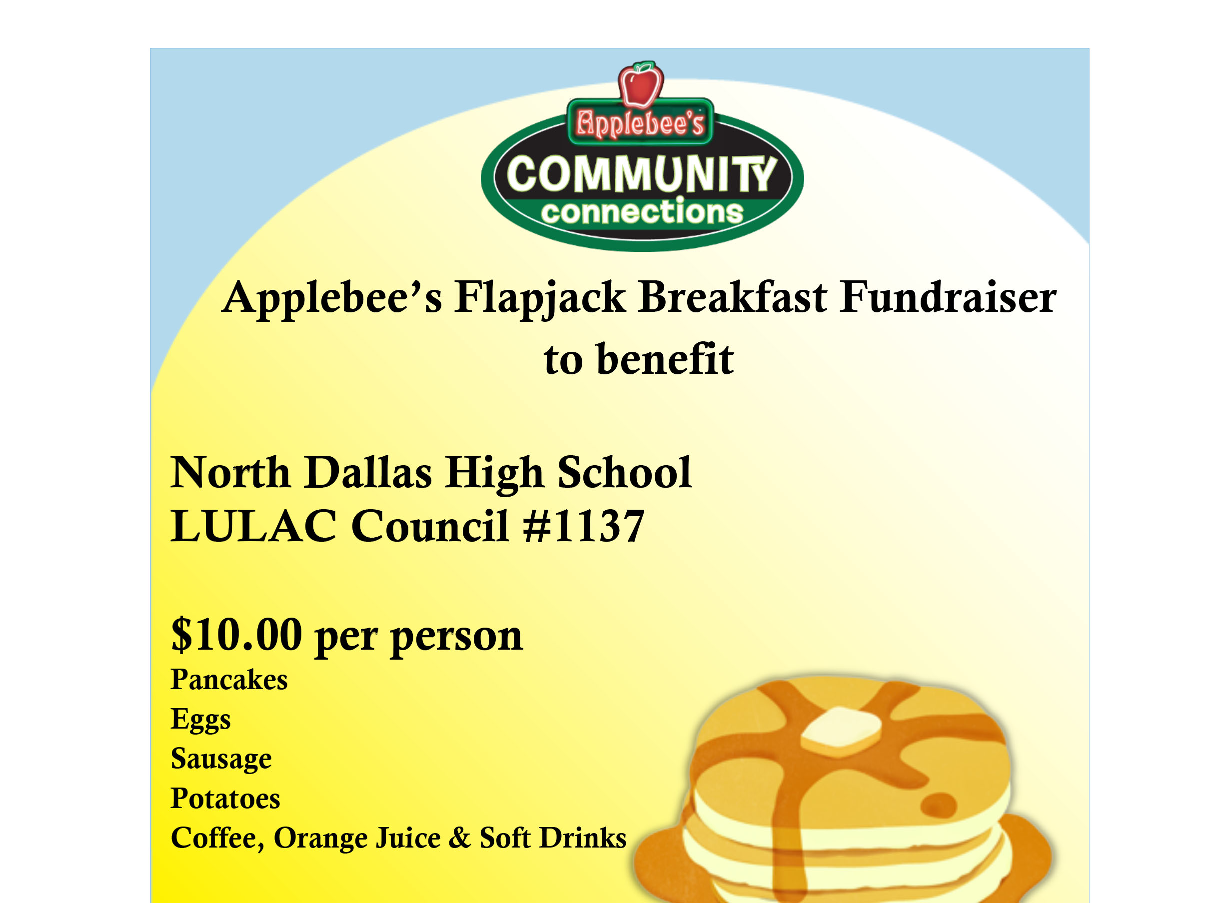 Support the LULAC chapter's flapjack fundraiser at Applebee's on Jan. 27
