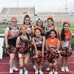 "North Dallas cheerleaders lead the support: 'Bulldogs, here we go. Let's go Bulldogs"""