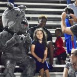 Spike the Bulldog mascot draws young fans in the stands