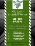 Last call for 9th grade basketball tryouts