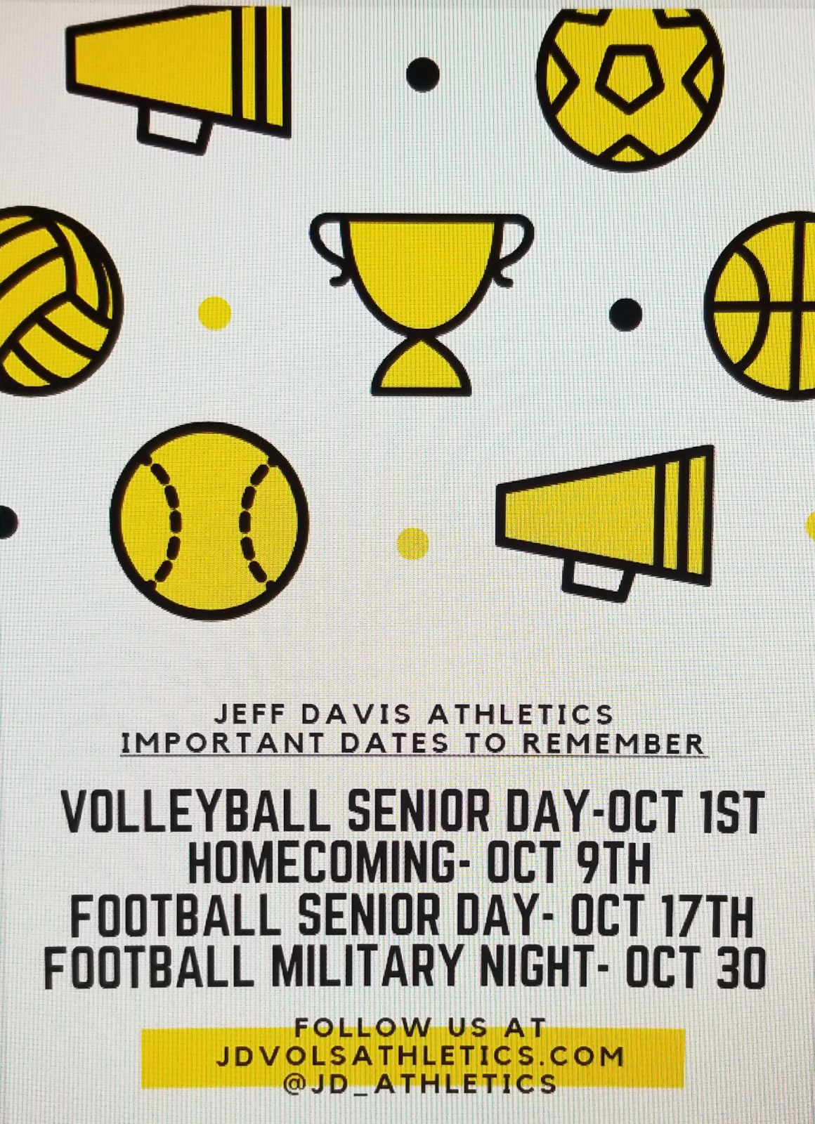 JD Athletics Important Upcoming Dates