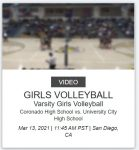 Volleyball vs Coronado Saturday 3/13 (Live NFHS)