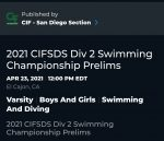 2021 CIFSDS Div 2 Swimming Championship prelims