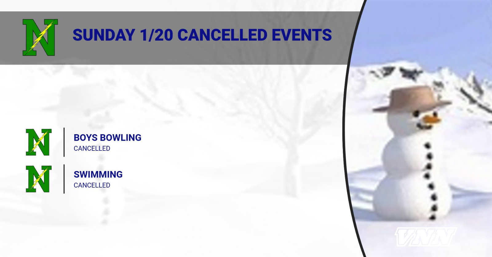 Sunday Events CANCELLED