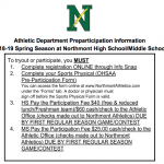 Spring Sports Important Information 2018-19
