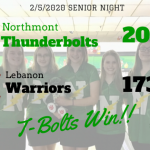 Northmont Girls Varsity Bowling win on Senior Night 2069 – 1736