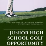 Junior High School Golf Opportunity for Boys and Girls