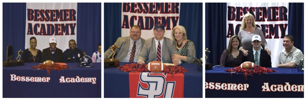 Three Rebels sign athletic scholarships today at Bessemer Academy