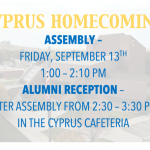Alumni Homecoming Assembly and Reception