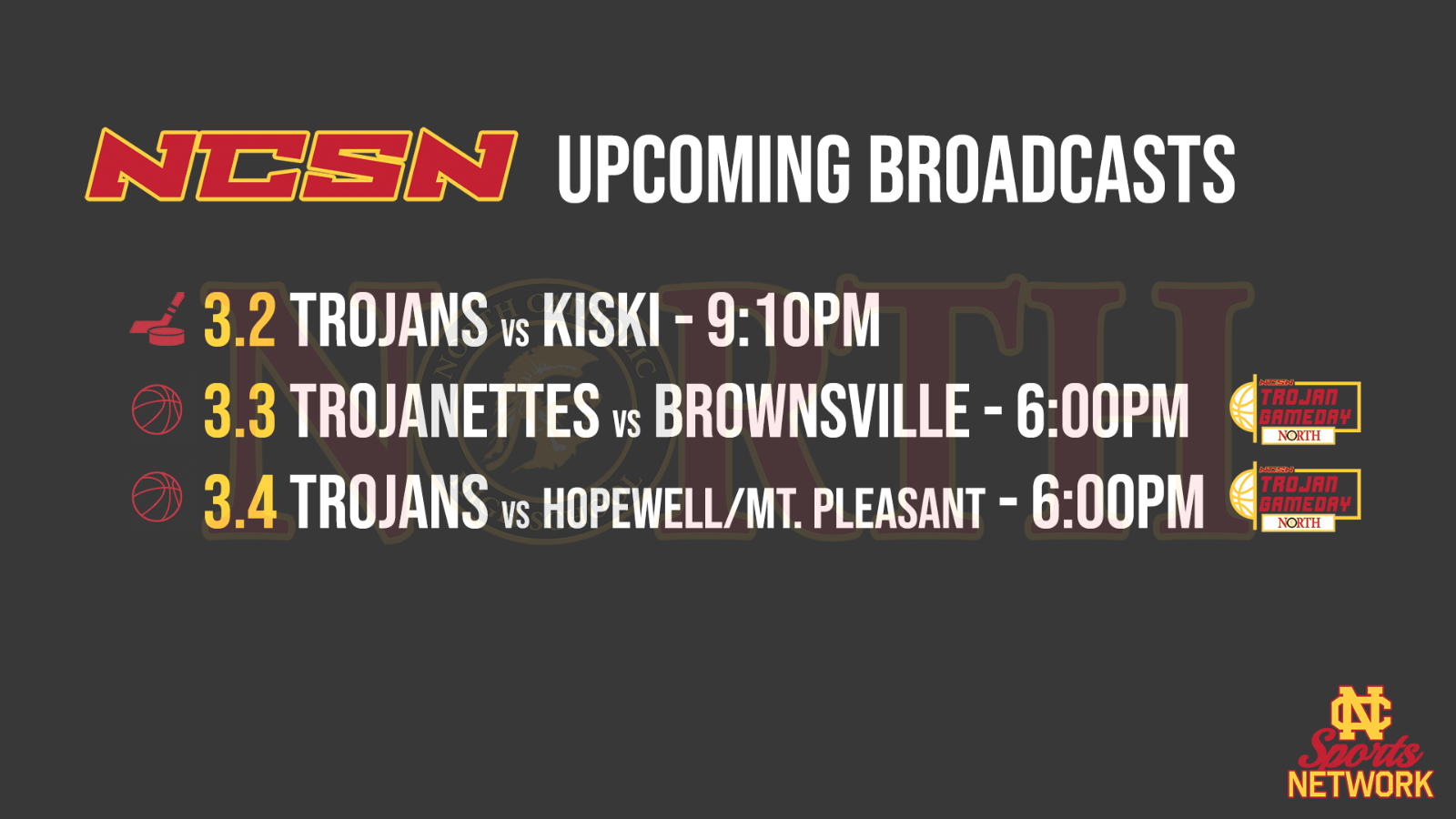 NCSN Broadcast Schedule – Week of March 1, 2021