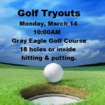 Boys Golf Tryouts Monday, March 14th