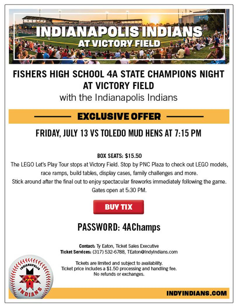 4A State Champs: Fishers Tigers recognized at 7/13 Indians Game