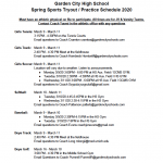 SPRING SPORTS  Start March 9, 2020: Click for Tryout / Practice Times