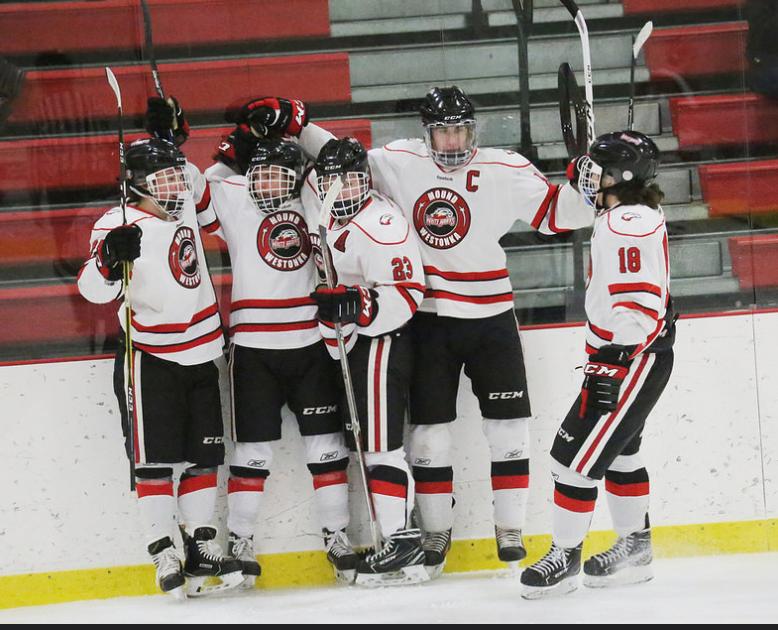 White Hawks line celebrates a goal